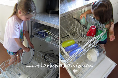 kids loading dishwasher