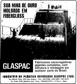 propaganda  tobogan - escorregador gigante da Glaspac - 1970, 1970. História da década de 70. Propaganda nos anos 70. Brazil in the 70s. Oswaldo Hernandez.
