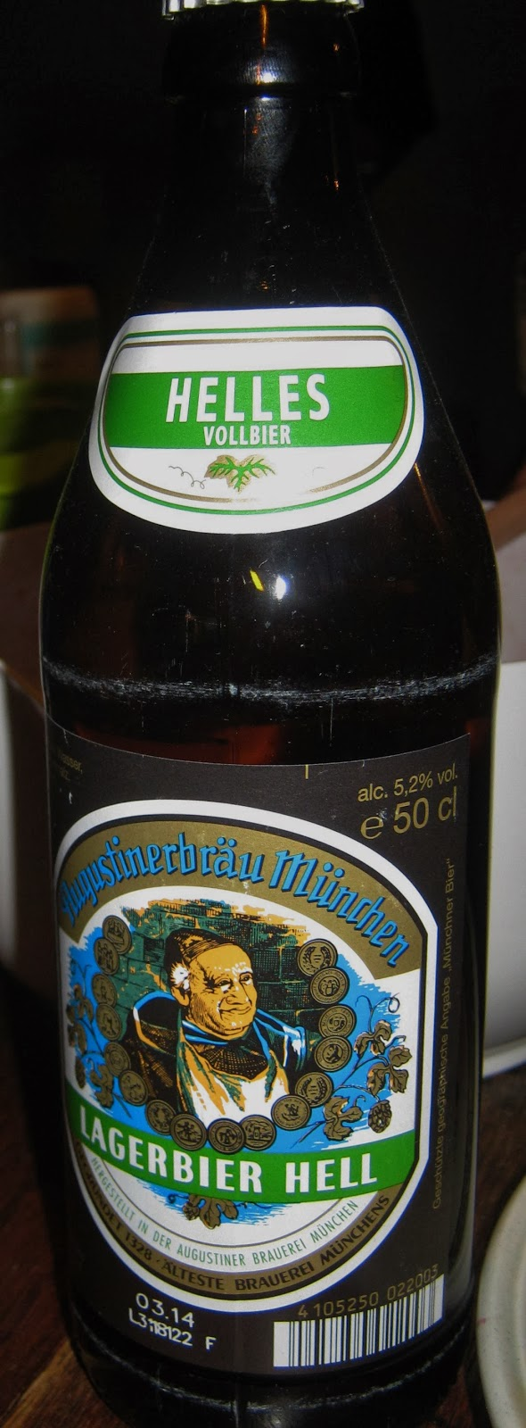 A bottle of Augustiner Helles beer