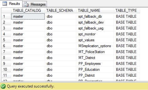 sql query to get all table name in a database