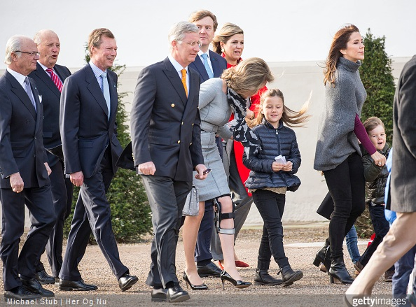 King Carl Gustaf of Sweden, King Harald of Norway, Henri Grand Duke of Luxembourg, King Phillipe of Belgium, Queen Mathilde of Belgium, Princess Isabella of Denmark, Crown Princess Mary of Denmark, her son Vincent and other guests during the morning greetings for the 75th birthday of the Danish Queen at Fredensborg Palace
