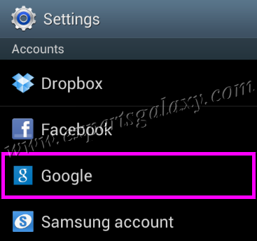 Android Google Account Settings