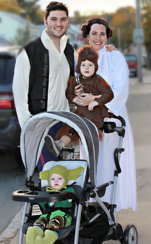 cute star wars themed family costumes perfect for halloween, princes leia, yoda, chewbacca, han solo, baby and toddler