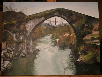 Pinturas al leo nistal lorenzo puente romano de cangas - Como pintar al oleo paso a paso ...