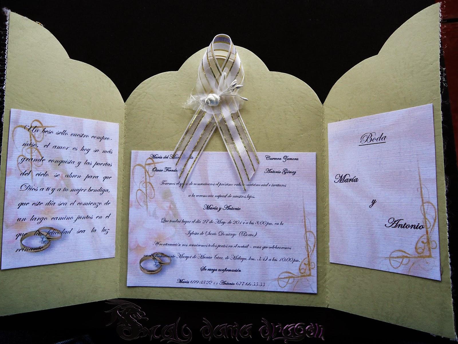 Tarjeta o invitaci n para boda dise o puertas al altar - Disenos tarjetas de boda ...