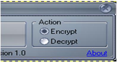 Tampilan CMCrypt Dengan Pilihan Menu Encrypt
