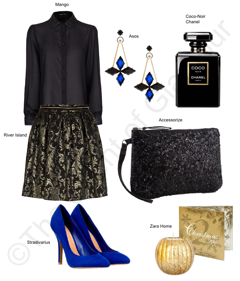 mango black shirt, river island skirt, stradivarius blue heels, accessorize sequin black clutch, asos earrings, zara home cuddle, zara home jazz cd, coco noir chanel perfume