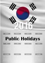 ปฏิทินวันหยุดเกาหลี ปี 2016