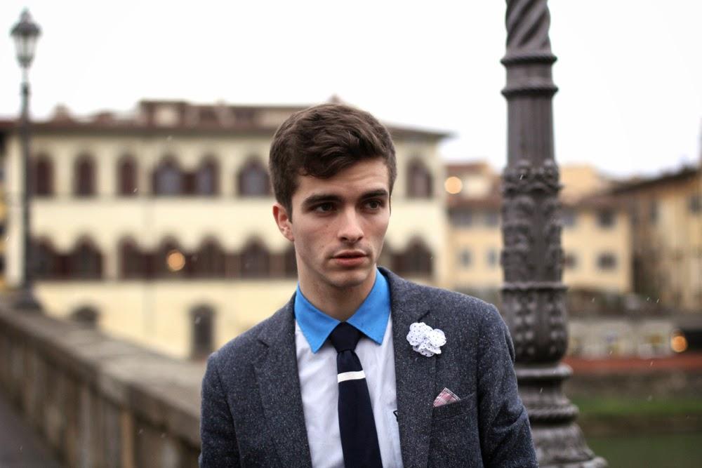 Blog Style Mode Homme, Lyle & Scott Shirt, Sandro Jacket, Cavalier Bleu Tie, Pochette Square Lapel FLower, Select Pocket Square, from Paris, Menstyle