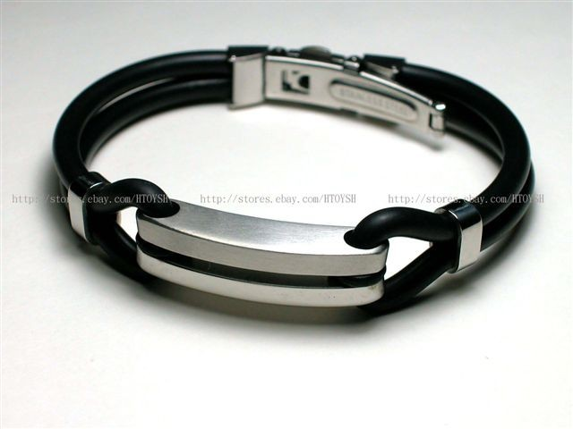 Men's Black Stainless Steel Rubber Bracelets Bangles