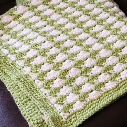Green Seashell Stitch Baby Blanket - Free Crochet Pattern