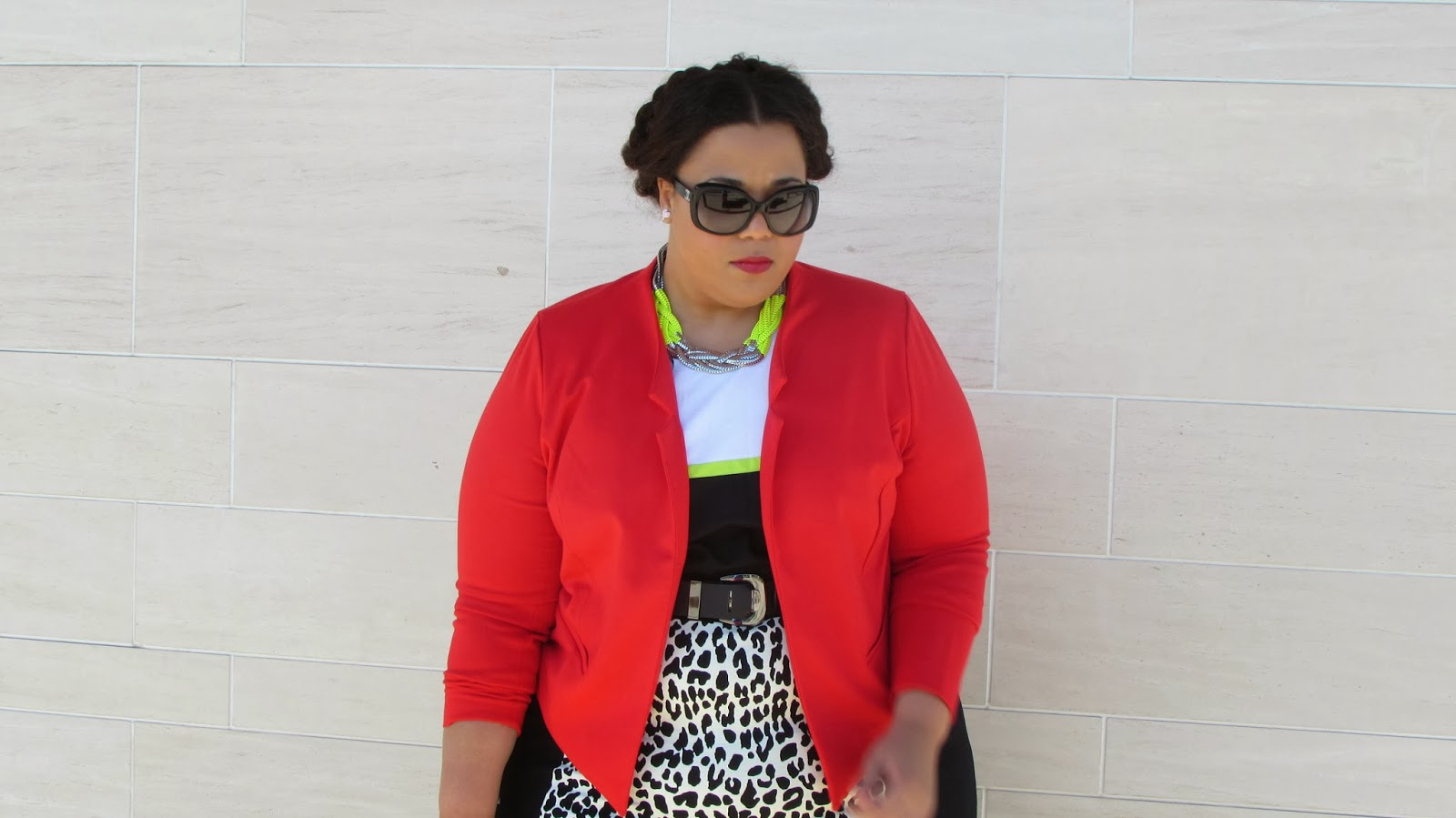 Chanel Sunglasses, Calvin Klein plus size dress, Plus size red blazer