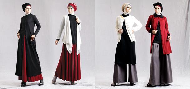 Gambar model baju muslim modern trendy berbahan kaos