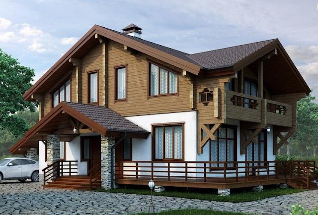 Вид комбинированного дома
