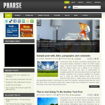 Pharse blog template. template image slider blog. magazine blogger template style. wordpress theme to blogger