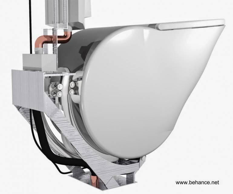 Vista del mecanismo para el giro de la taza del inodoro