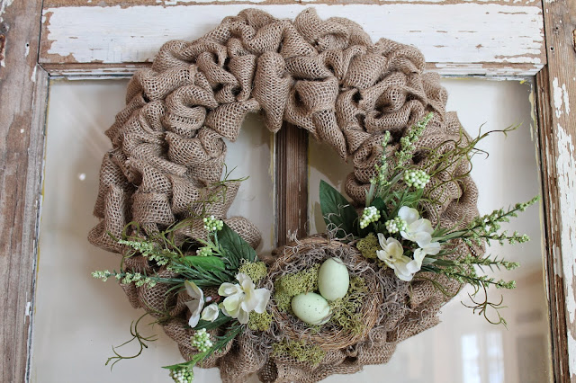 spring burlap wreath tutorial with flowers and nest