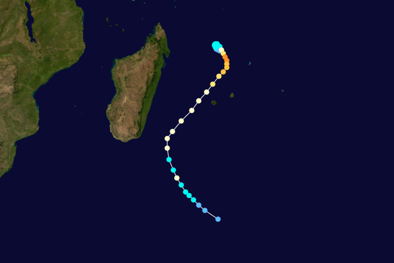 Trajectoire du cyclone tropical intense Connie