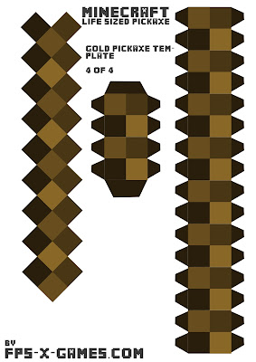 Minecraft Papercraft Gold Pickaxe 4 of 4
