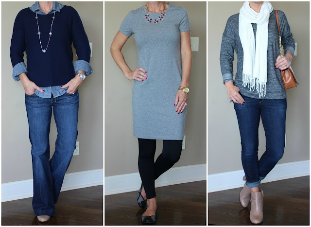 Fall casual outfits including jeans, sweaters, a dress, booties, and a scarf, outfit ideas, casual looks