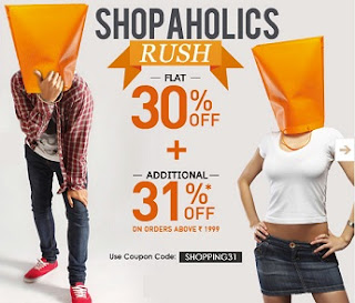 Be Shopaholics with Jabong : Enjoy Flat 30% + Additional 31% Off on Purchase worth Rs.1999 (Offer Valid till 2nd Sep'13)