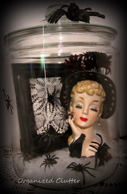 Halloween Black Widow Head Vase