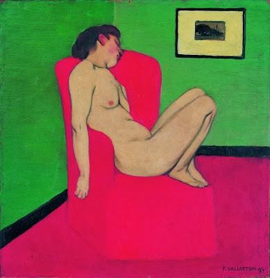 Félix Vallotton - Femme nue assise dans un fauteuil rouge,1897.