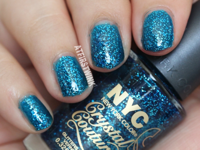NYC Crystal Couture glitters nail polish 014 - Blue Majesty swatch