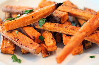 Finding The Fit Girl Inside me: Double Sweet Potato Fries. Clean Eating Baked Sweet Potato Fries recipe.