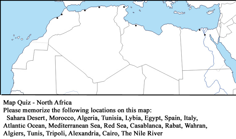 Geography at Calvert: Map Quiz - North Africa - Tuesday ...