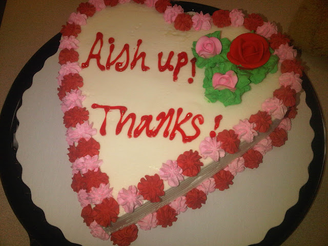 "Heart Shaped Cake that says ""AISH up, thanks"""