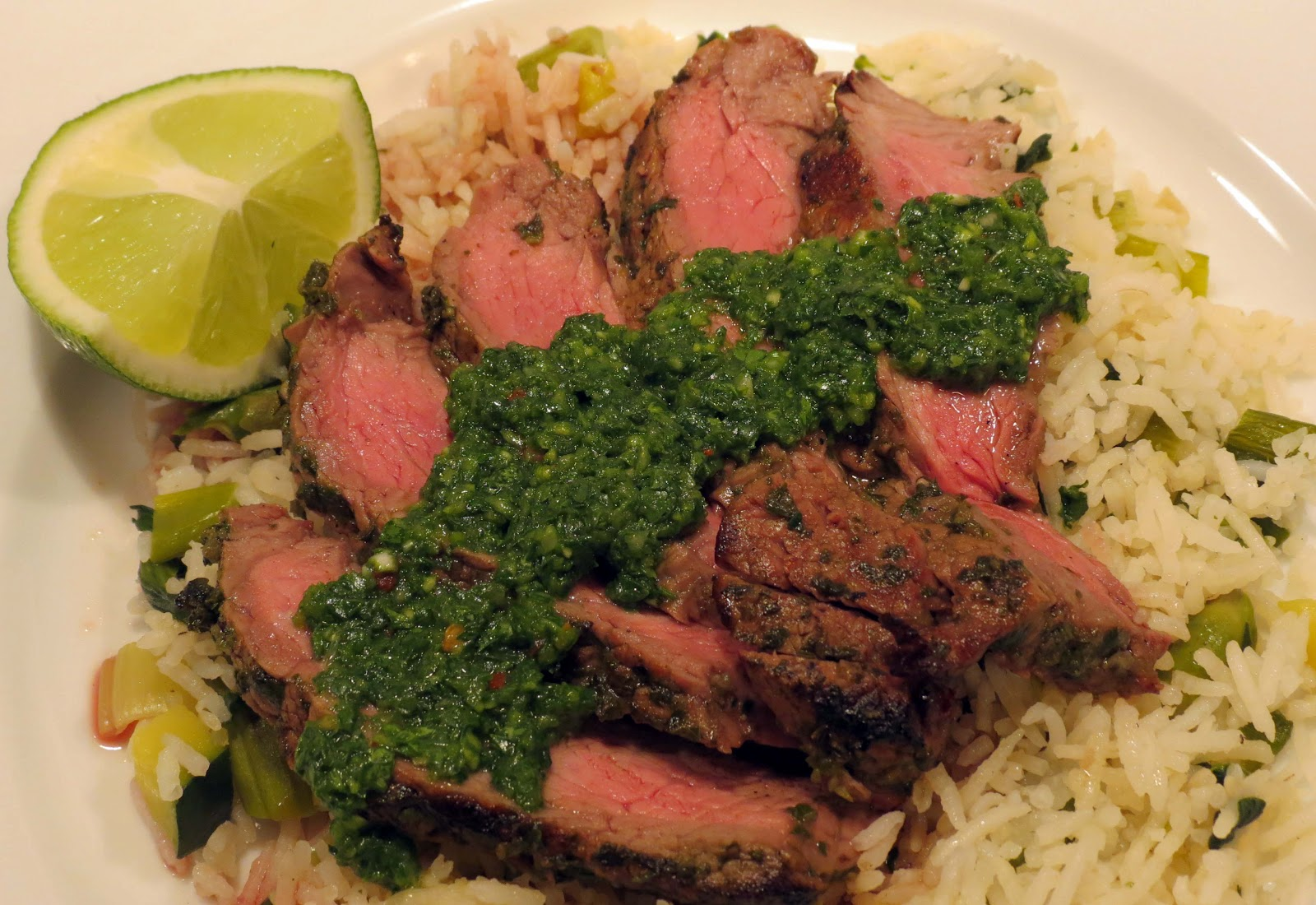 flat iron steak with chimichurri and fingerling potatoes grilled ...