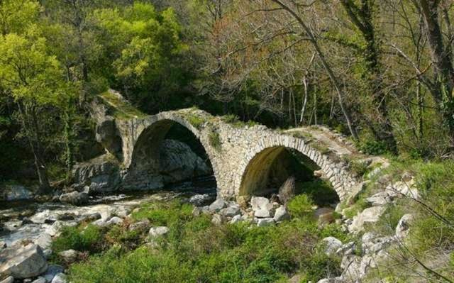 Ancient bridges, left over from Roman building projects, can be found all over Europe, like this one in Southern France.