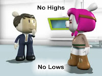 Photo image of two cartoon characters at the high end audio shop discussing the problems with Bose