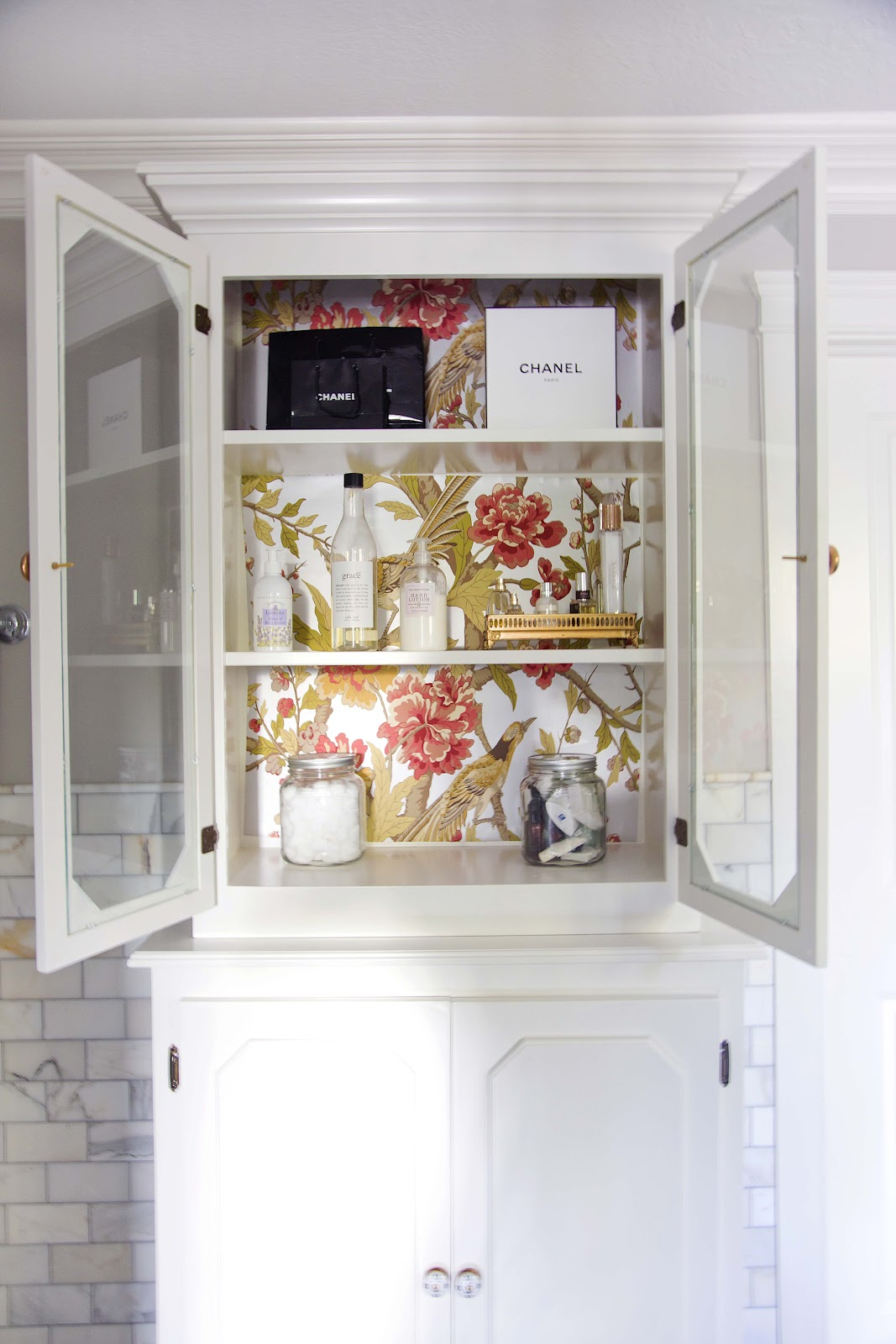 inside cabinets to wallpaper or painting creative