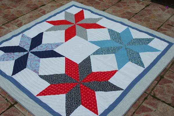 patchwork lemoyne stars in a quilt