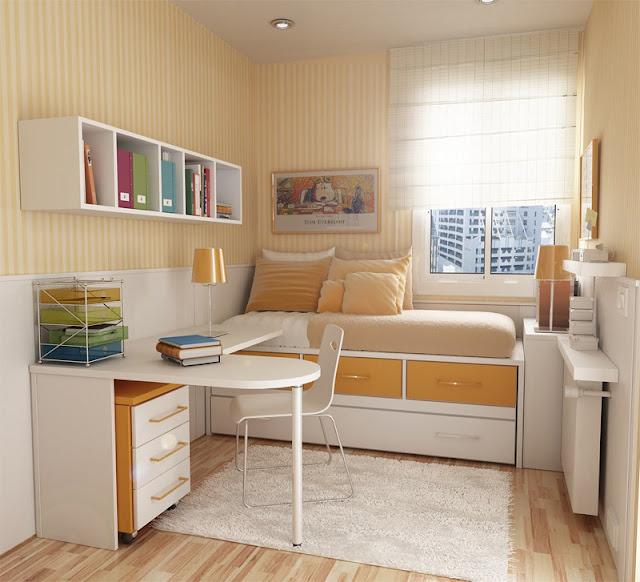 decoracao alternativa apartamentos pequenos:Muitas vezes, posicionar a cama sob a janela é a única alternativa e