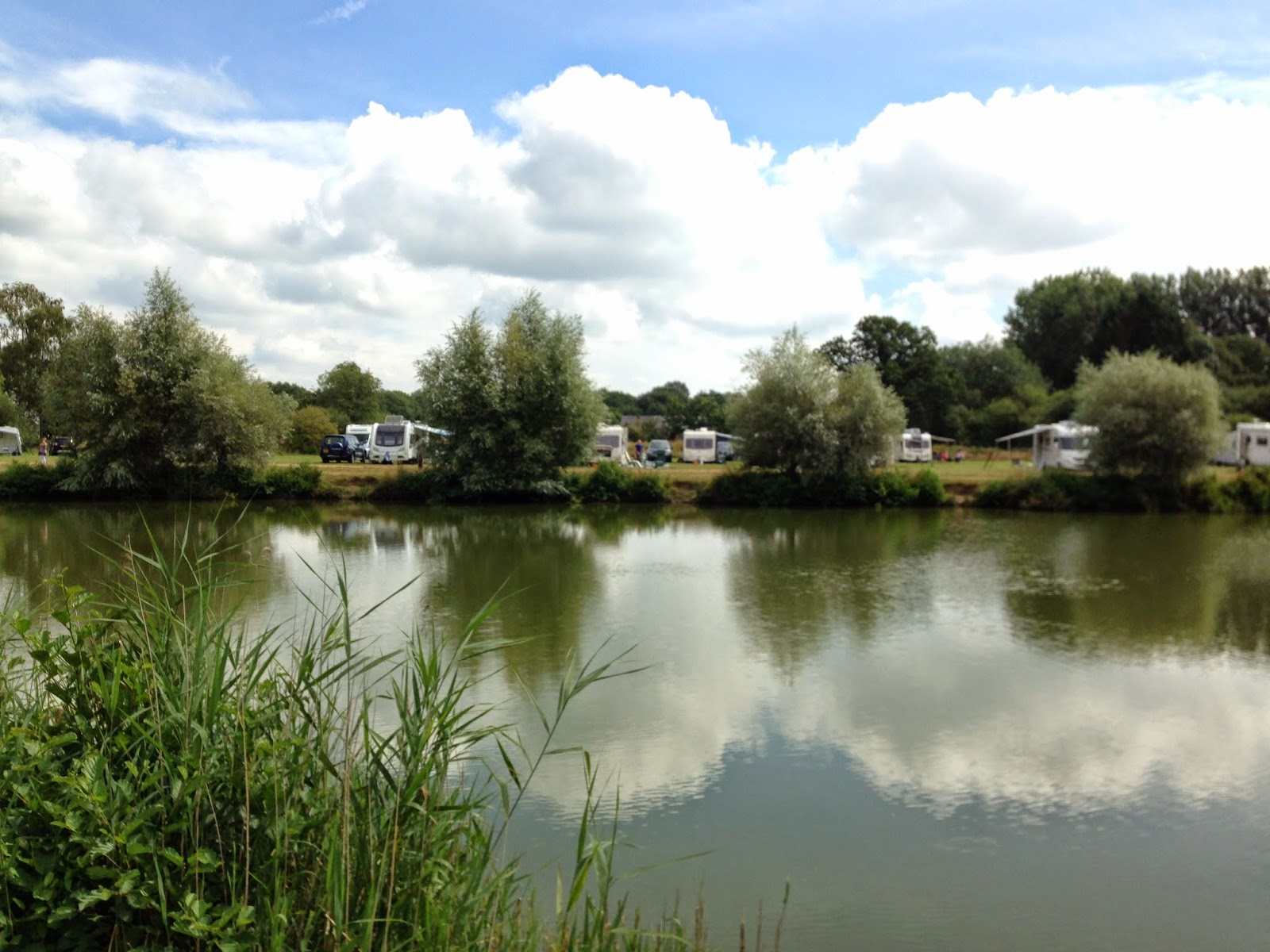 A view of caravans across Somerley Lakes