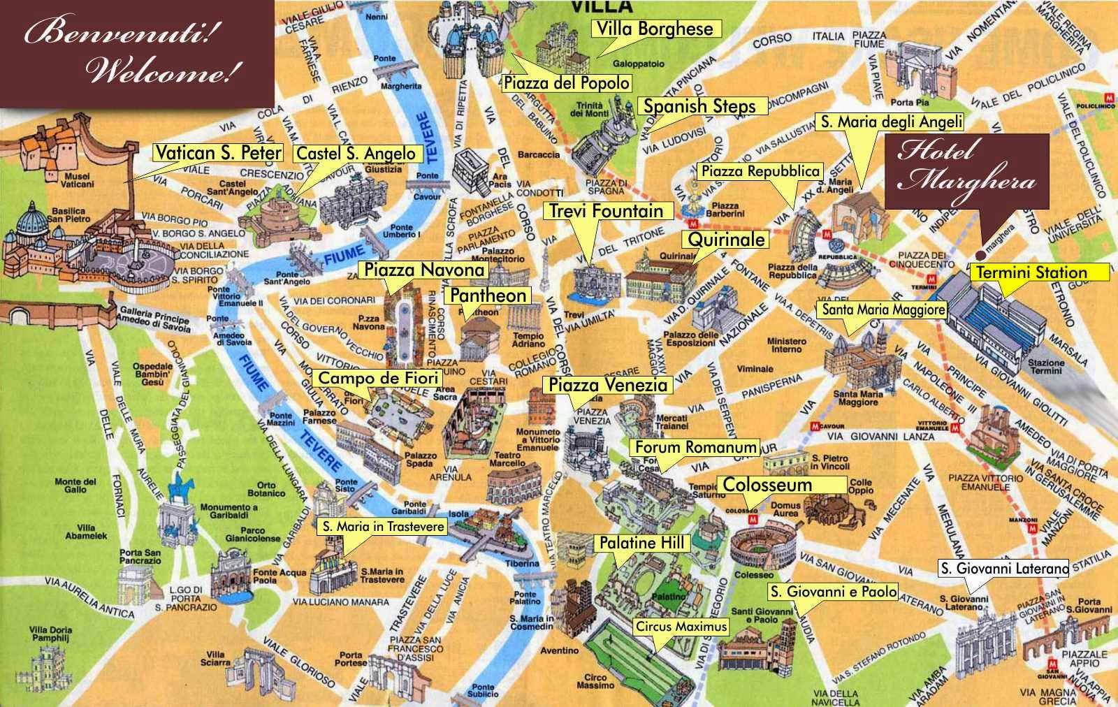 Those Who Wander Rome Mini Guide - Rome map in english with attractions