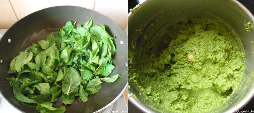 Sauting the mint leaves and making mint paste