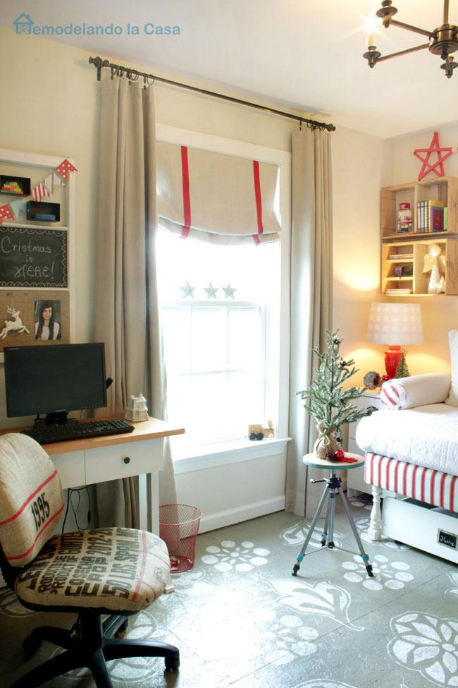 window treatment and small Christmas tree
