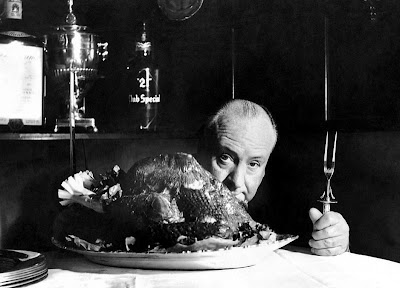 Alfred Hitchcock with turkey