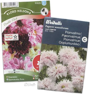 Årets sommarblomsfrön: rosenskära och pionvallmo.