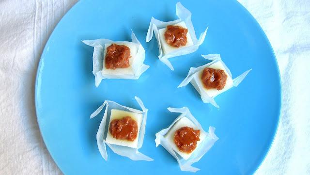 chestnut cream on polenta squares