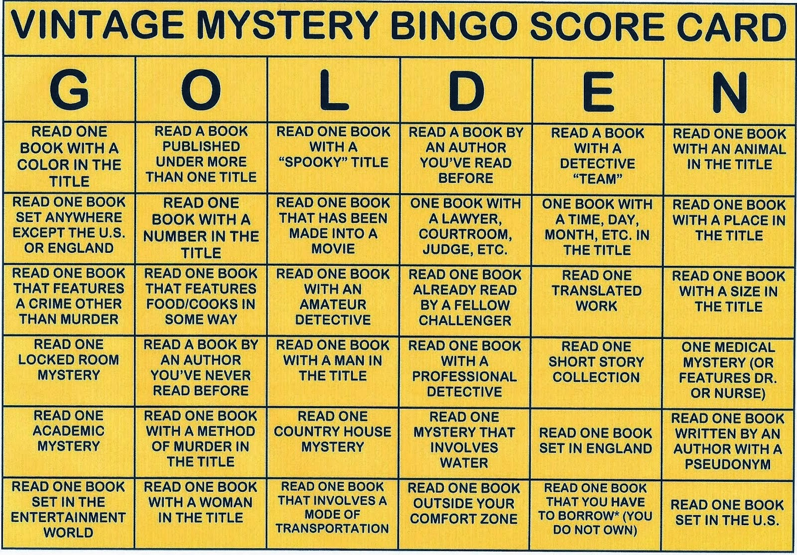 2014 READING CHALLENGE - VINTAGE GOLD (Pre-1960)