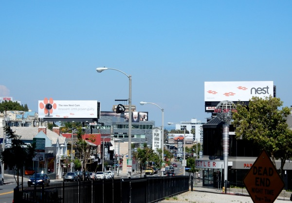 Nest Cam paw print billboards Sunset Strip