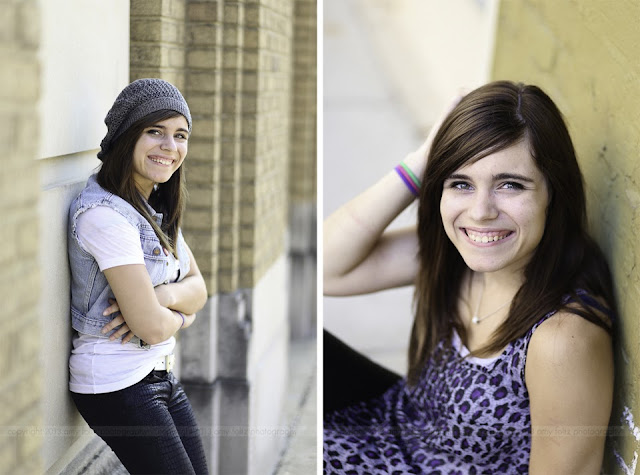 photos of a high school senior girl in downtown Terre Haute