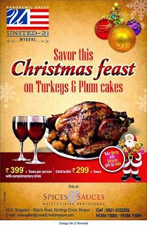 Christmas feast at United-21 Hotel Mysore