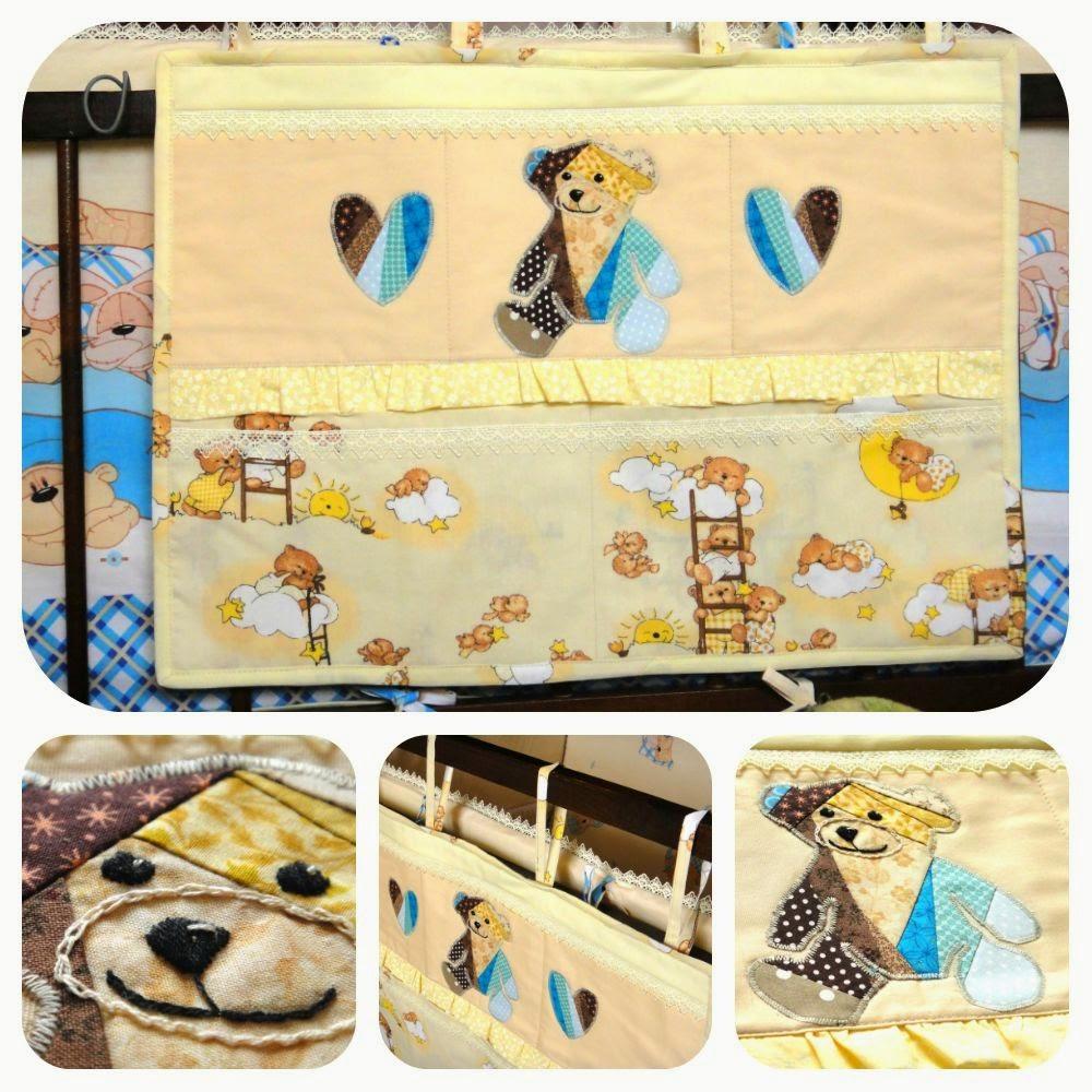Комплект в кроватку новорожденного - постельное белье и подвесной карман для мелочей