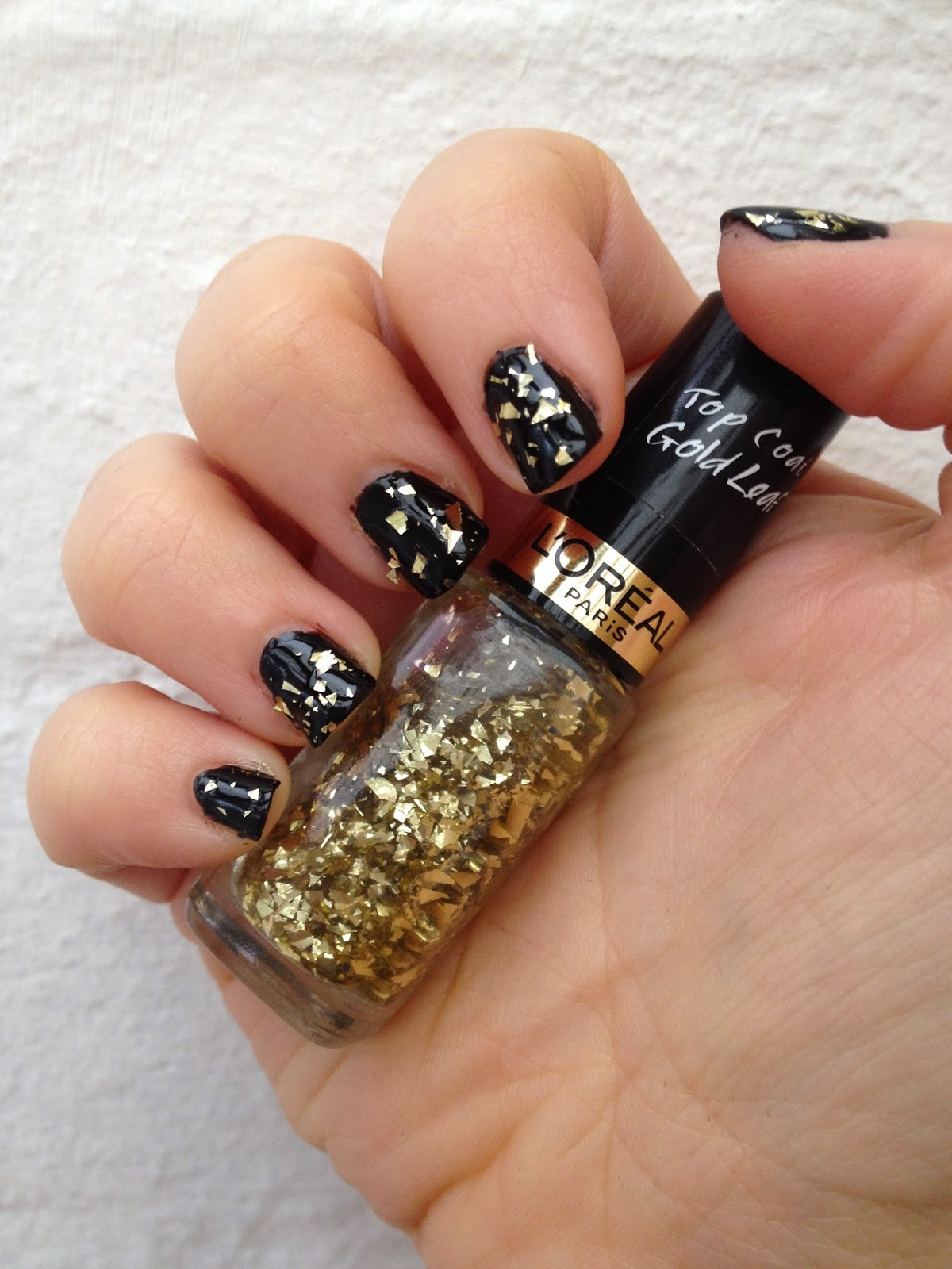 Gold Leaf Top Coat Over Black Nail Polish Party Nails
